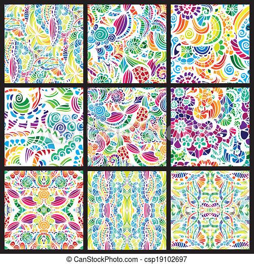 motifs, hand-drawn, ensemble, neuf, seamless - csp19102697