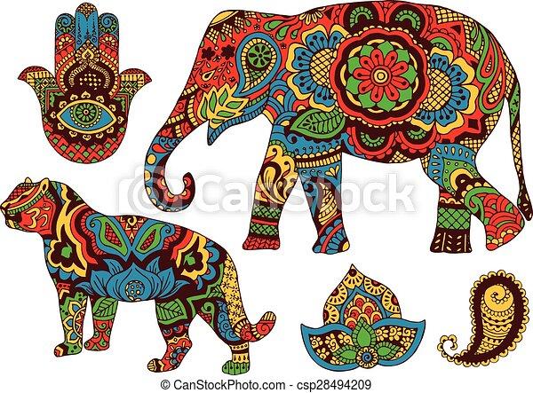 motifs, indien, conception - csp28494209