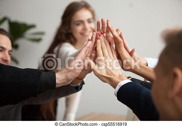 motivé, business, donner cinq, équipe, haut haut, mains, fin - csp55516919