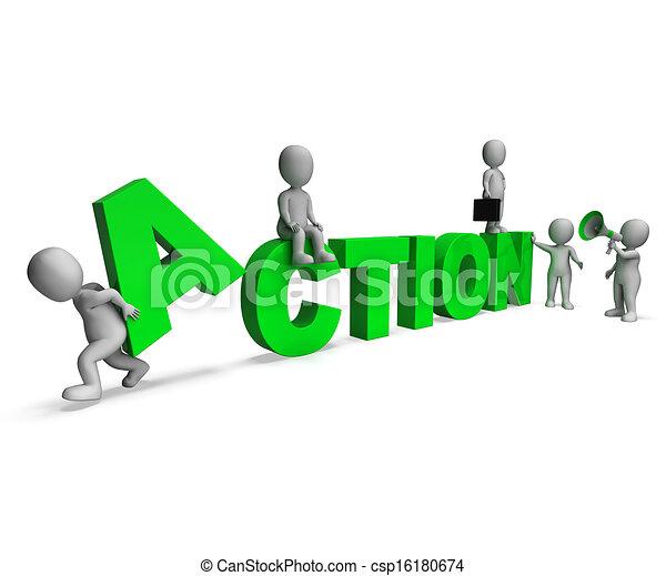 motivé, caractères, activité, action, ou, proactive, spectacles - csp16180674
