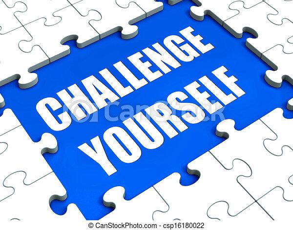 motivação, mostrando, quebra-cabeça, você mesmo, determinação, metas, desafio - csp16180022