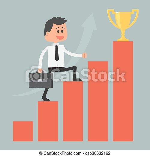 motivación, concepto, success., éxito, escalera, business., hombre de