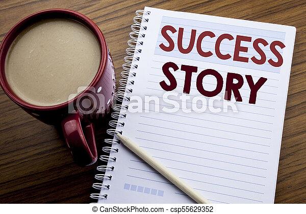 motivation, concept, reussite, business, sous-titre, bois, texte, projection, bloc-notes, café, écriture, livre note, écrit, papier, fond, pen., main, story., inspiration - csp55629352