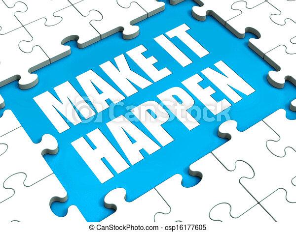 Lassen Sie es geschehen Puzzle zeigt Motivation Management und Action - csp16177605