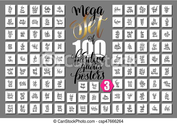 motivational, mega, positivo, inspir, citação, jogo, 100, cartazes - csp47666264