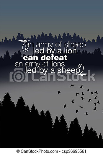 Motivational Quote Poster An Army Of Sheep Led By A Lion Can Defeat