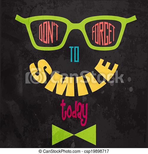 motivazionale, smile!, dimenticare, fondo, non faccia - csp19898717