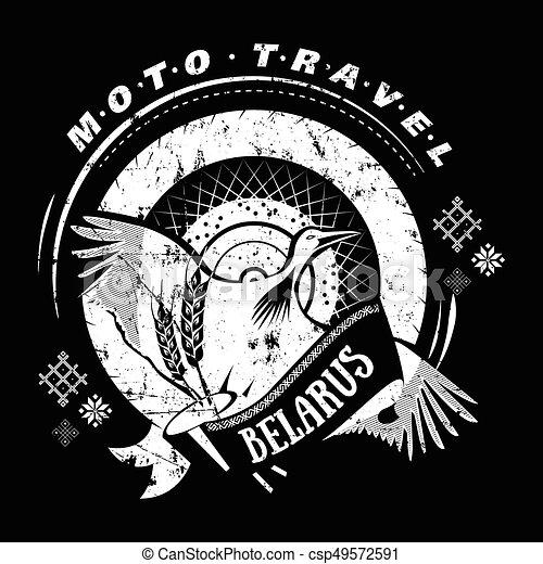 Moto Travel Emblem With Bird Stork Wheel National Moto Travel