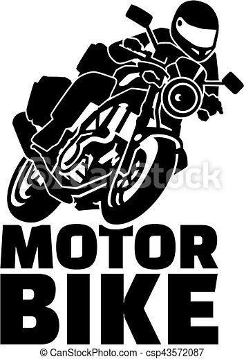Motobike with biker - csp43572087
