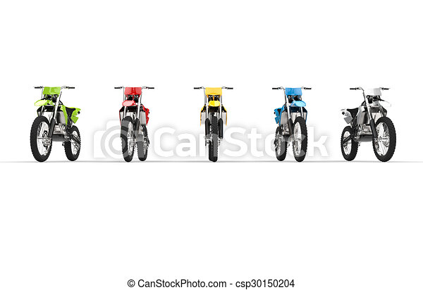 Motocross Bikes Isolated Front View