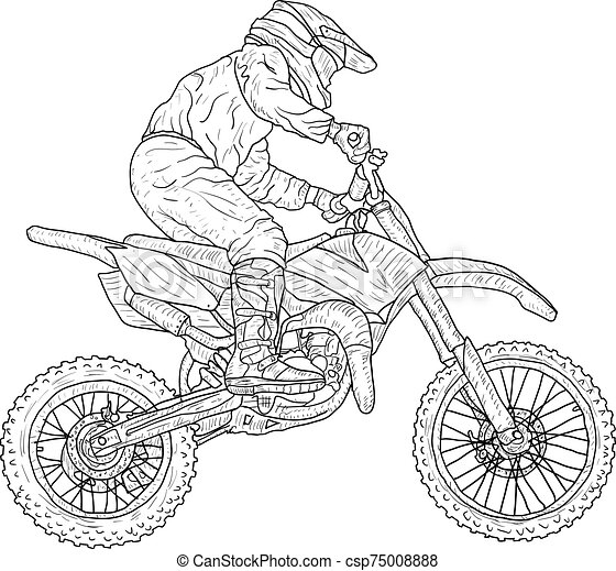 Motocross Drivers Silhouette Sketch On White Background Canstock