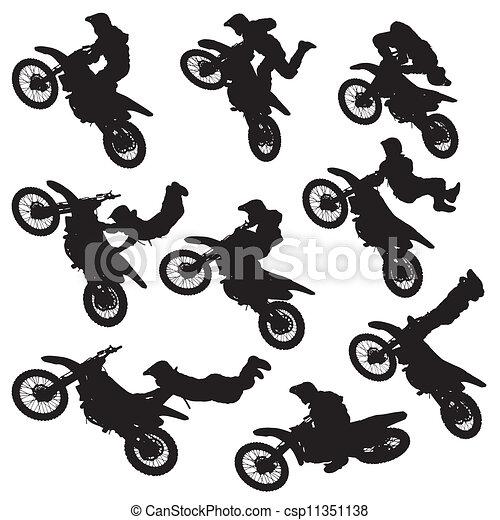 motocross freestyle silhouette - csp11351138