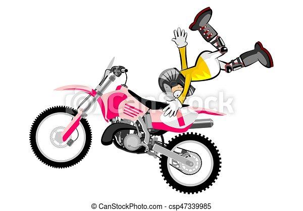 motocross rider isolated over white backgrorund cartoon vector rh canstockphoto com motocross clipart free motocross cartoon clipart