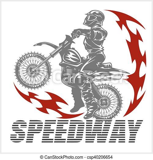 Motocross rider on a motorcycle - Illustration - csp40206654