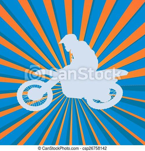 Motocross rider silhouette - csp26758142