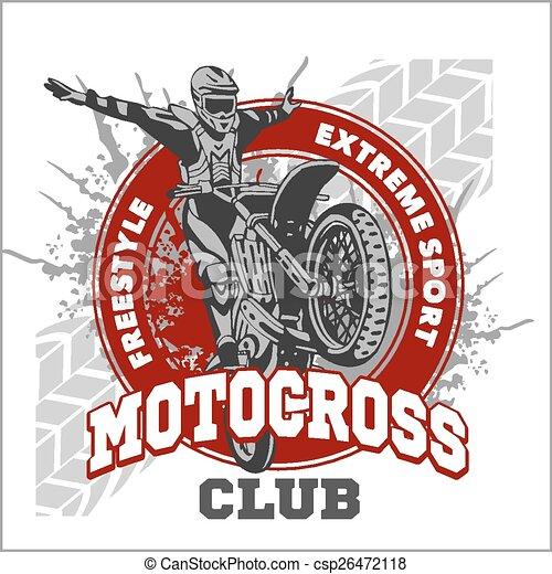 Motocross sport emblem - csp26472118
