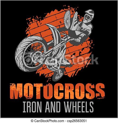Motocross sport - grunge poster - csp26563051