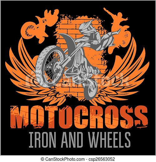 Motocross sport - grunge poster - csp26563052