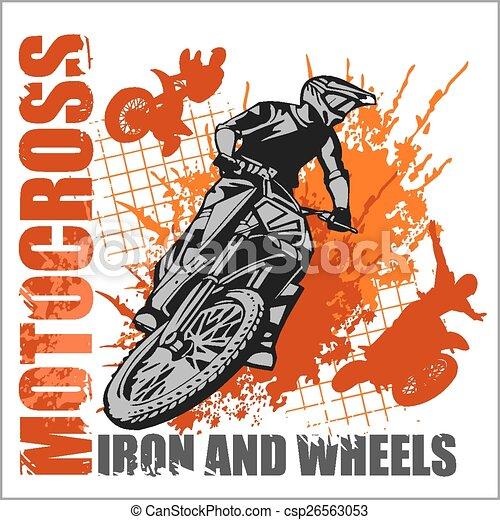 Motocross sport - grunge poster - csp26563053