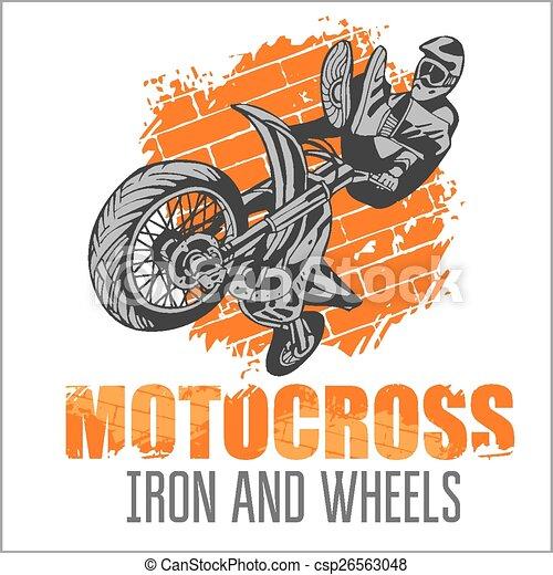 Motocross sport - grunge poster - csp26563048