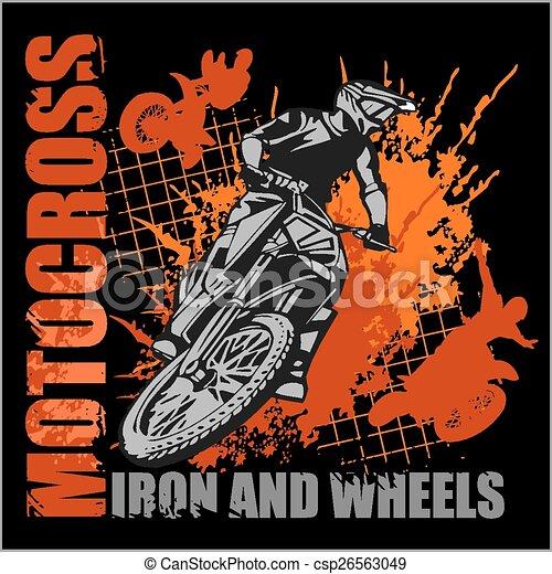 Motocross sport - grunge poster - csp26563049