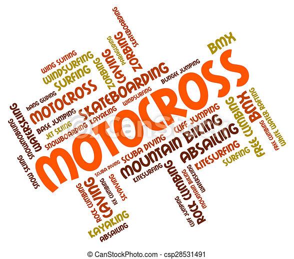 Motocross Words Represents Bike Enduro And Motorbikes - csp28531491