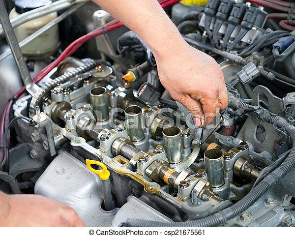 Motor, auto, kontrolle. Motor, welle, auto, ventil, lücke, messen ...