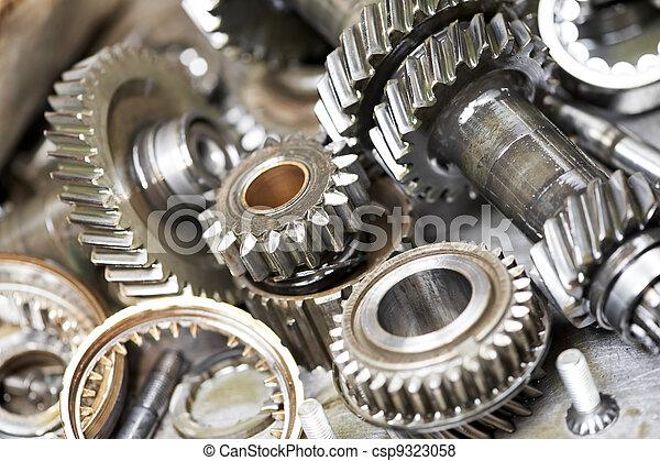 motor, automóvil, primer plano, engranajes - csp9323058
