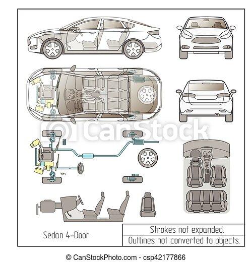 Motor, autoteile, zeichnung, inneneinrichtung, gegenstände, sedan ...