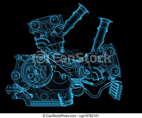 Máquina de rayos X azul transparente aislada en negro - csp19762101