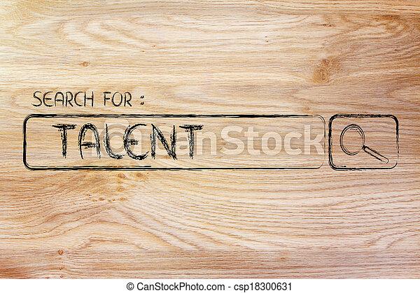 Barra de motor de búsqueda, busca talento - csp18300631