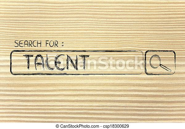 Barra de motor de búsqueda, busca talento - csp18300629