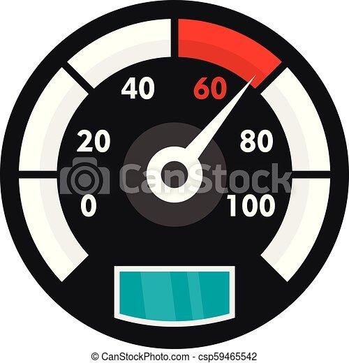 Motor bike speedometer icon, flat style