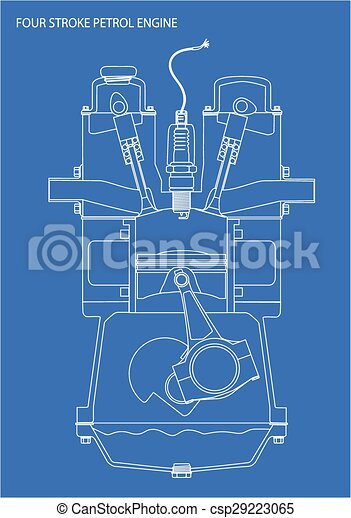 Motor, blaupause, zeichnung. Motor, blaues, benzin, aus,... Clipart ...