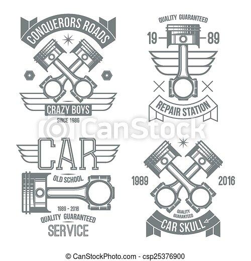 motor, car, emblemas, pistão - csp25376900