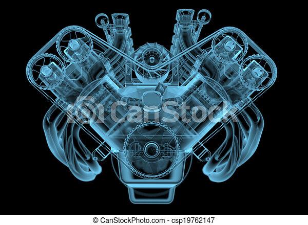 Motor de rayos X azul transparente aislado en negro - csp19762147