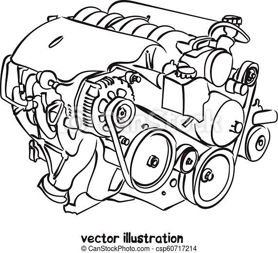 Un boceto del motor de un vehículo - csp60717214
