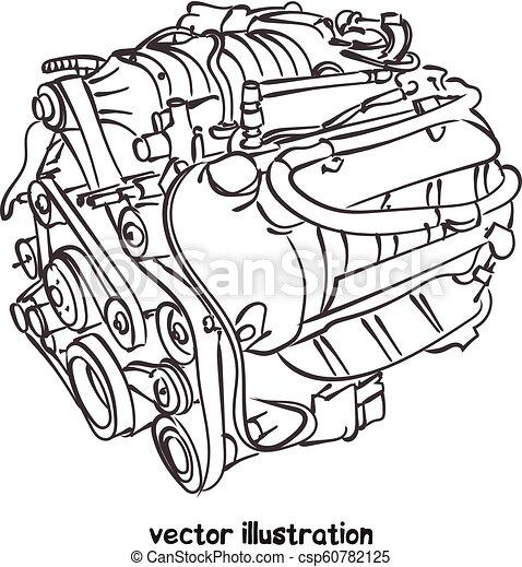 Un boceto del motor de un vehículo - csp60782125
