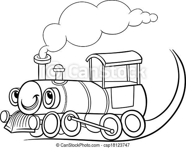motor, coloração, caricatura, locomotiva, ou, página - csp18123747