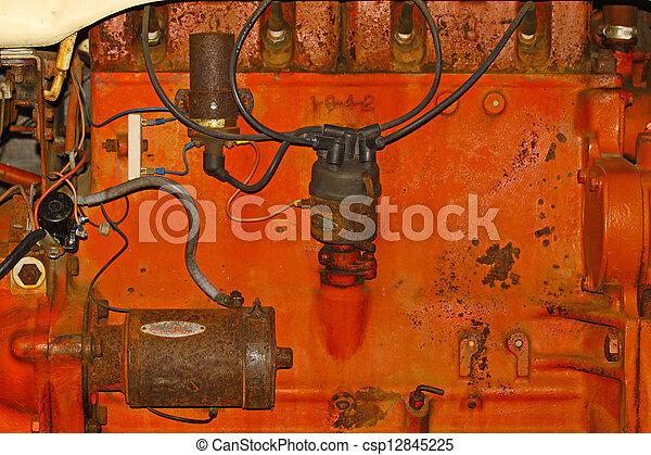 motor, gammal, lantgård traktor, komponenten, apelsin, kvarter - csp12845225