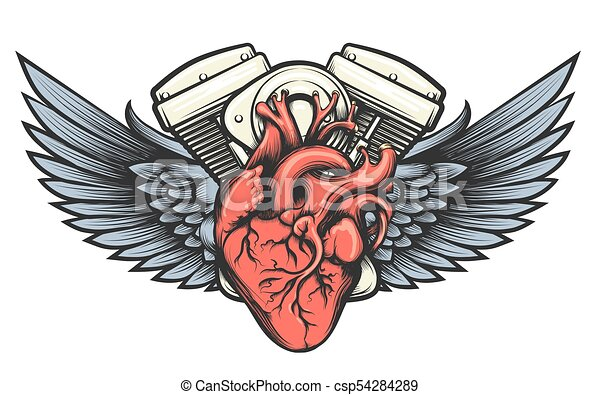 a8b764d8bba0a Motor heart tattoo. Motorcycle engine with wings tatoo label. vector ...