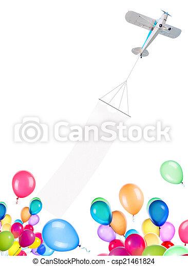 motor, luftballone, ledig, eben, banner - csp21461824