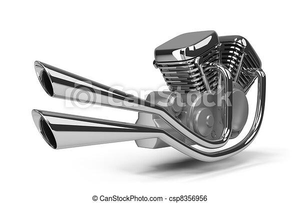 Motor Motocicleta Image Chromed Aislado Fondo