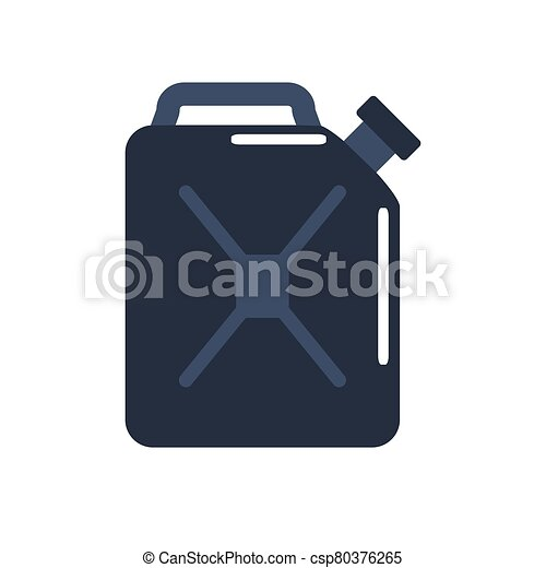 Motor oils and gassoline blank jerrycan canister icon in flat style. Vector simple illustration of different canisters with engine oil isolated on white background. - csp80376265