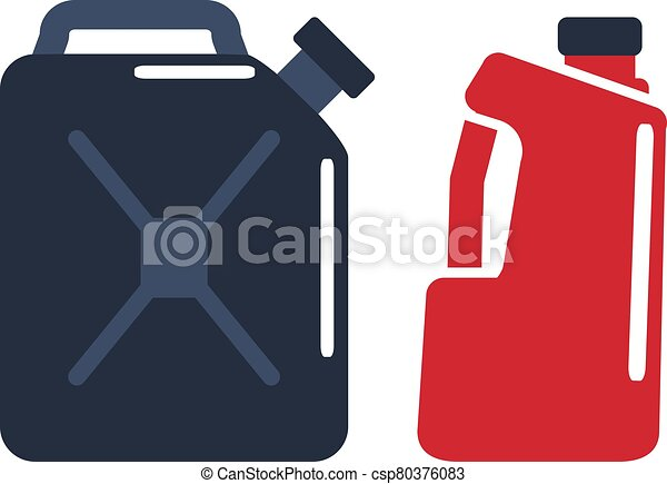 Motor oils and gassoline blank jerrycan canister icon in flat style. Vector simple illustration of different canisters with engine oil isolated on white background. - csp80376083