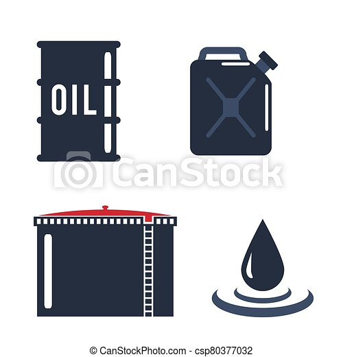 Motor oils blank jerrycan canister icon in flat style. Vector simple illustration of different canisters with engine oil isolated on white background. - csp80377032