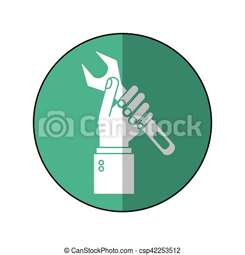 Motor, symbol-green, unterstuetzung, hand, maulschlüssel, besitz ...