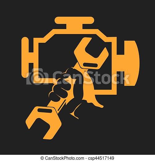 Motor, symbol, kontrollieren. Motor, reparatur, symbol ...