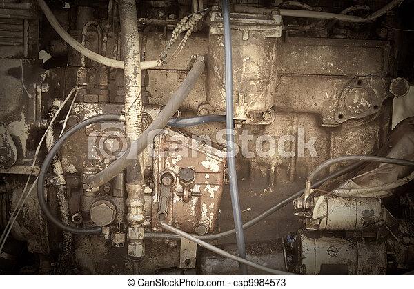 motor, traktor, gammal, årgång, foto - csp9984573