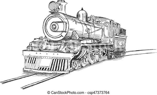 motor vetorial fluxo ilustração trem retro estrada ferro